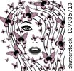 beautiful female face with butterflies on her head. raster version, vector file also included - stock photo