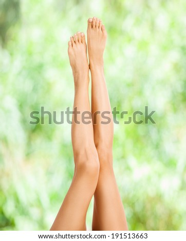 Beautiful female legs on the green background