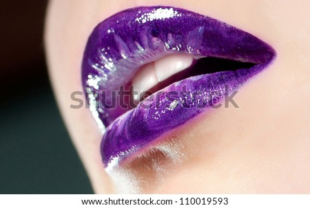 beautiful female violet lips close up