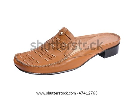 beautiful feminine footwear on white background, is isolated