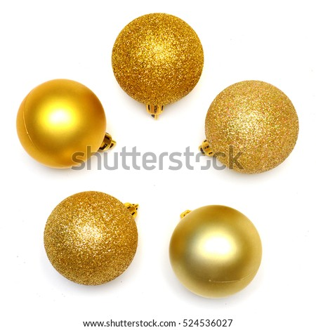 Beautiful festive Christmas wreath of balls isolated on white background. Flat lay, top view. Creative New Year card.