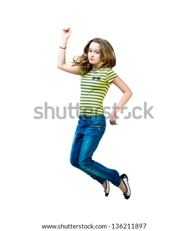 beautiful  flying girl  isolated over white background