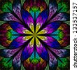 Beautiful fractal flower in blue, green and red. Computer generated graphics. - stock
