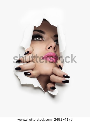 beautiful girl coming out of a white background