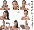 beautiful girl cosmetics set - stock photo
