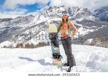 female snowboarder bikini