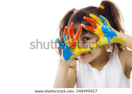 beautiful girl playing with colors isolated on white background