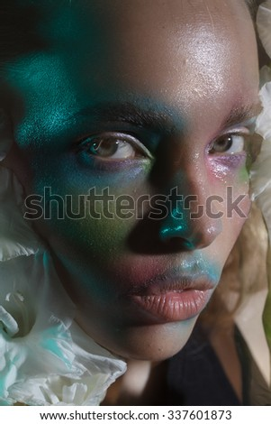 beautiful girl with colorful make up