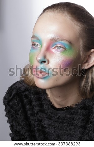 beautiful girl with colorized make up