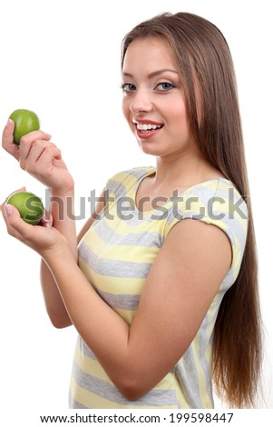Beautiful girl with lime, isolated on white