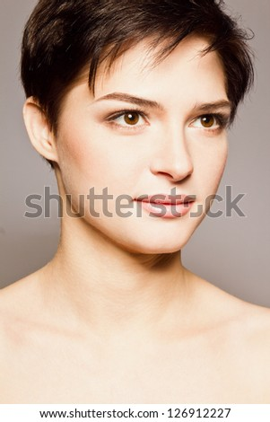 beautiful girl with short brown hair