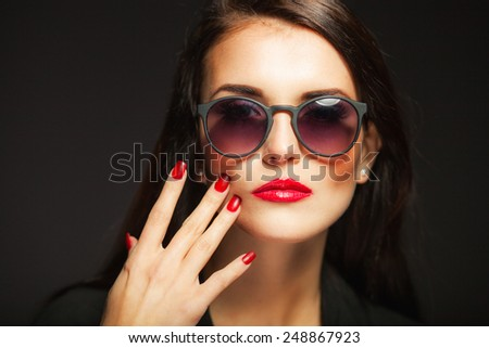 Natural Woman Face Red Lips Nails Stock Photo 248867893 ...