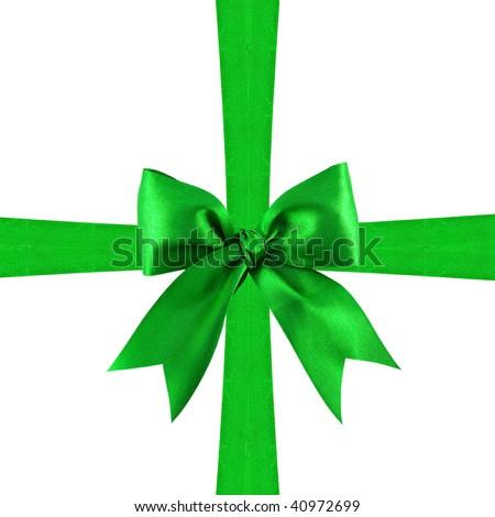 Shutterstocklvvgift bow beautiful green satin gift bow with crossed ribbons isolated on white negle Image collections