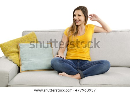 Beautiful happy woman having a good time at home