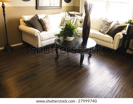 Beautiful home interior living room with hard wood flooring