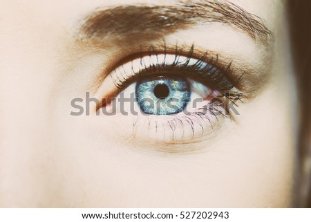 Beautiful insightful look blue woman's eyes