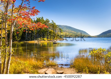Beautiful Lake in Acadia National Park on a Clear Autumn Day