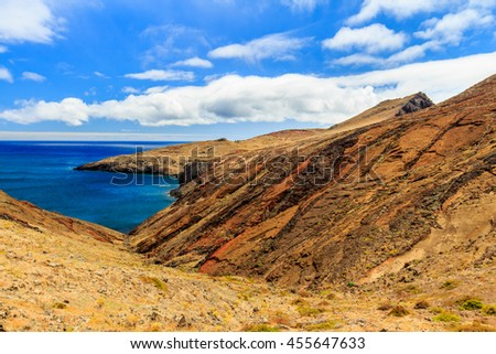 Beautiful landscape at the north coast of Ponta de Sao Lourenco, the eastern most part of Madeira Island, Portugal