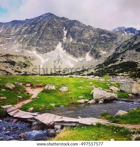 beautiful landscape in Rila mountains in Bulgaria
