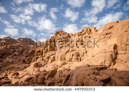 beautiful landscape in the mountains of Sinai at dawn