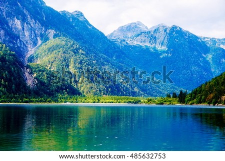 Beautiful landscape, lake with mountain in background