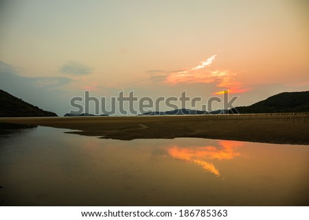 Beautiful landscape of beach  and sky at sunset time