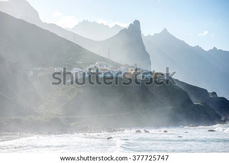 Beautiful landscape view on rocky coastline with Taganana village in northeastern part of Tenerife island, Spain