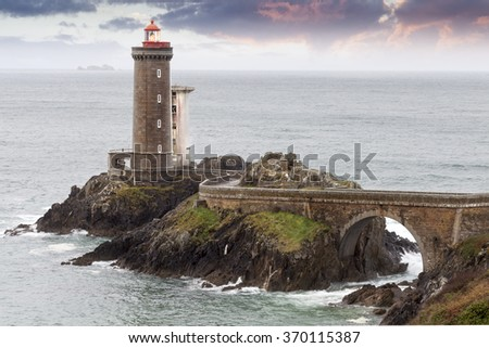 Beautiful lighthouse near atlantic in france