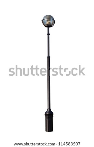 Beautiful lighting pole with one plafond isolated on white background