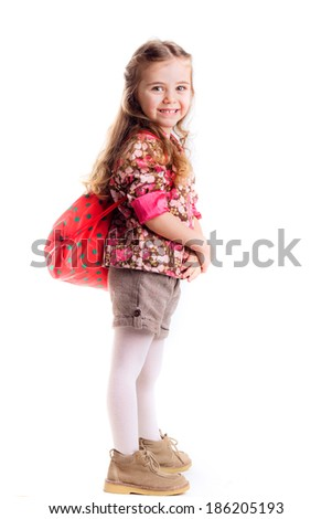 beautiful little girl with  backpack,  learning, knowledge, isolated on white background