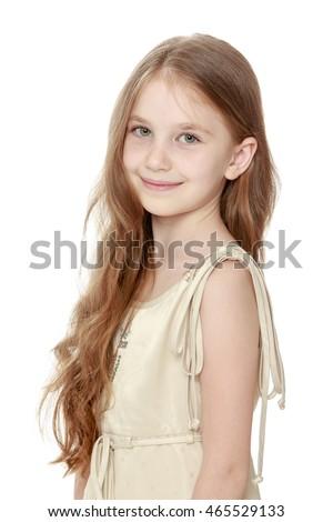 cute little girl long brown hair stock photo 479471488
