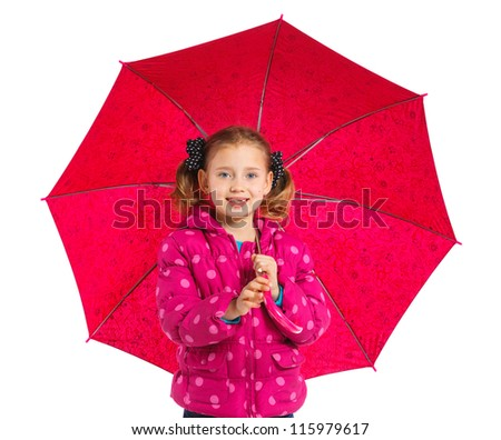 Beautiful little girl with umbrella. Isolated on white background