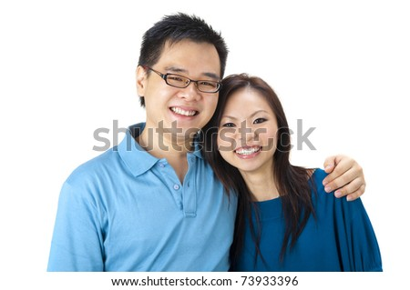 Beautiful Loving Couple on white background