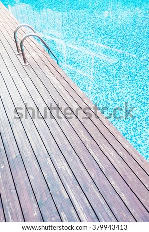 Beautiful luxury swimming pool at hotel resort with stair pool - Vintage Filter