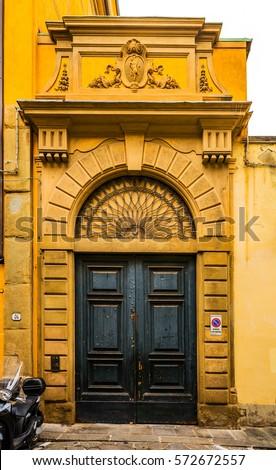 tuscan wooden doors beautiful massive wooden door on old stock photo 578660434