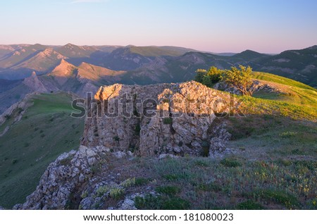 Beautiful morning light in the mountains. Crimean mountains, Ukraine, Europe