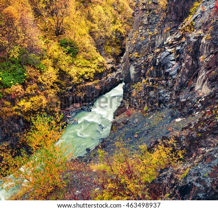 Beautiful morning view of Mulkhra river canyon. Colorful autumn scene in the Caucasus mountains, Ushguli village location, Upper Svaneti, Georgia, Europe. Artistic style post processed photo.