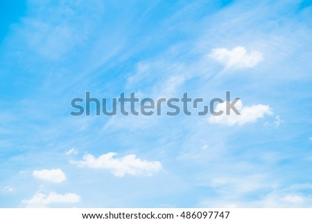 Beautiful nature and outdoor view with white cloud on blue sky background