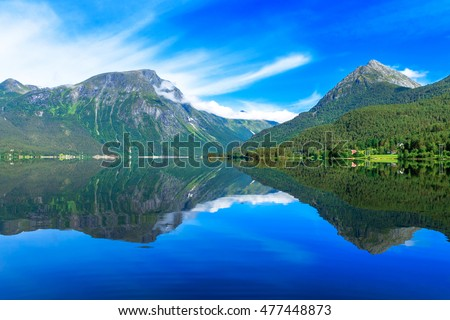 Beautiful Nature Norway natural landscape, ideal reflection in clear water