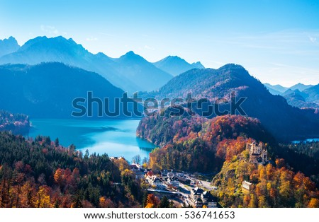 Beautiful nature, view from Neuschwanstein Castle, Germany
