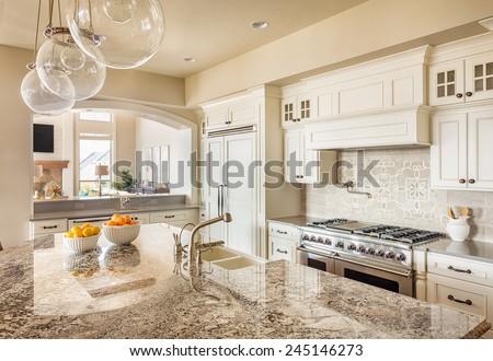 New Kitchen With Island beautiful new kitchen interior island sink stock photo 245146273