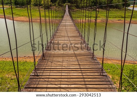Beautiful of rope bridge in Kaeng Krachan National Park, Phetchaburi, Thailand