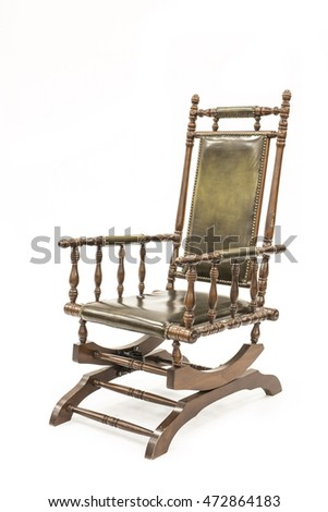 Beautiful old Rocking Chair on white background.
