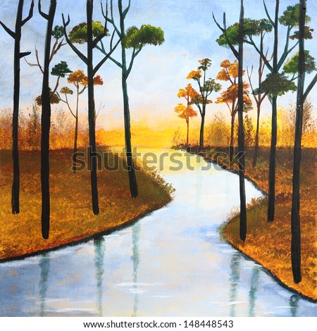 Beautiful painting of a river