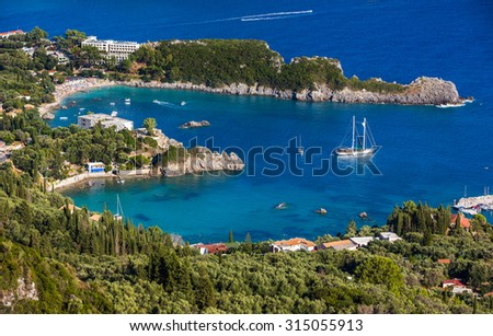Beautiful Paleokastritsa beach on Corfu, Greece