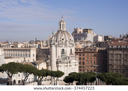 Beautiful panoramic view from the top of the Italian capital.Rome