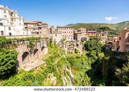 Beautiful park of Villa Gregoriana and Tivoli, Lazio, Italy