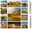 Beautiful photos of the Eiffel tower, bridges and palaces in Paris and other famous places. Collage. France - stock photo