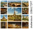 Beautiful photos of the Eiffel tower in Paris and other famous places. Collage - stock photo
