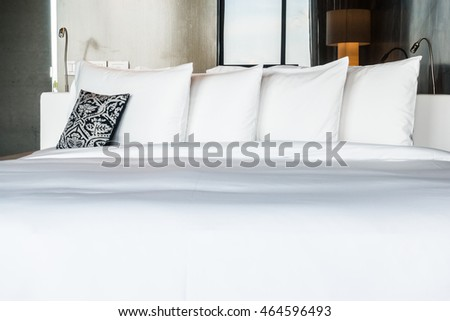 Pillows over sofa mockup decorate concept stock photo for Beautiful bed decoration